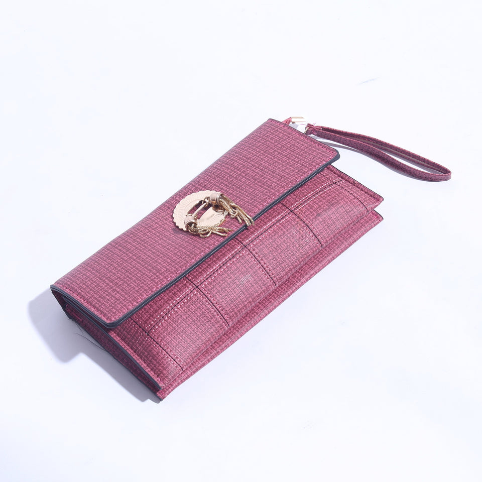 Printed Slim Clutch With Gold Logo ( C - 041 ) - The Women Wears
