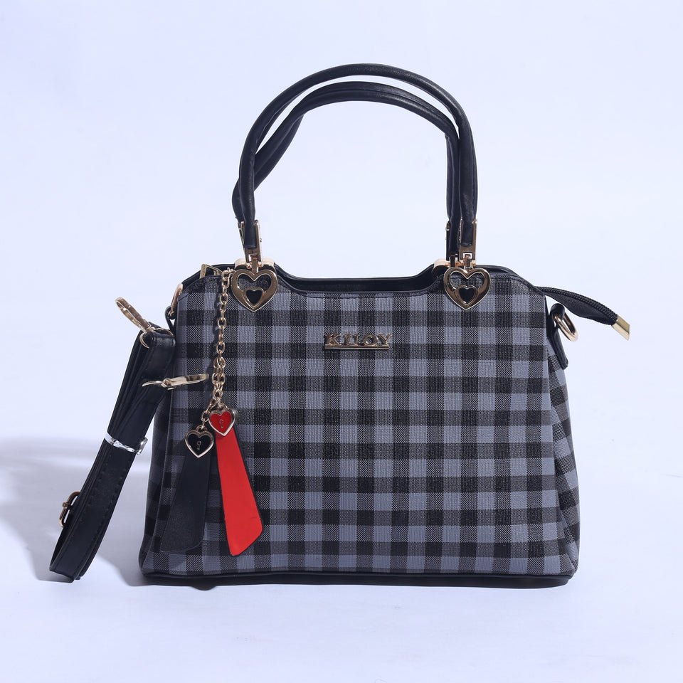 Check Printed Hand Bag With Leather Strap ( B - 019 ) - The Women Wears