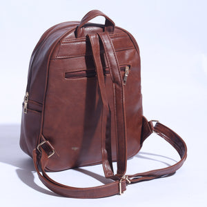 Pure Leather Back Pack Dark Brown  ( BP -  031 ) - The Women Wears