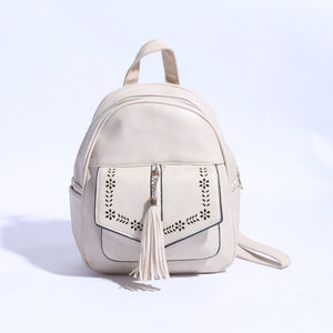 Pure Leather Back Pack Off White ( BP - 034 ) - The Women Wears