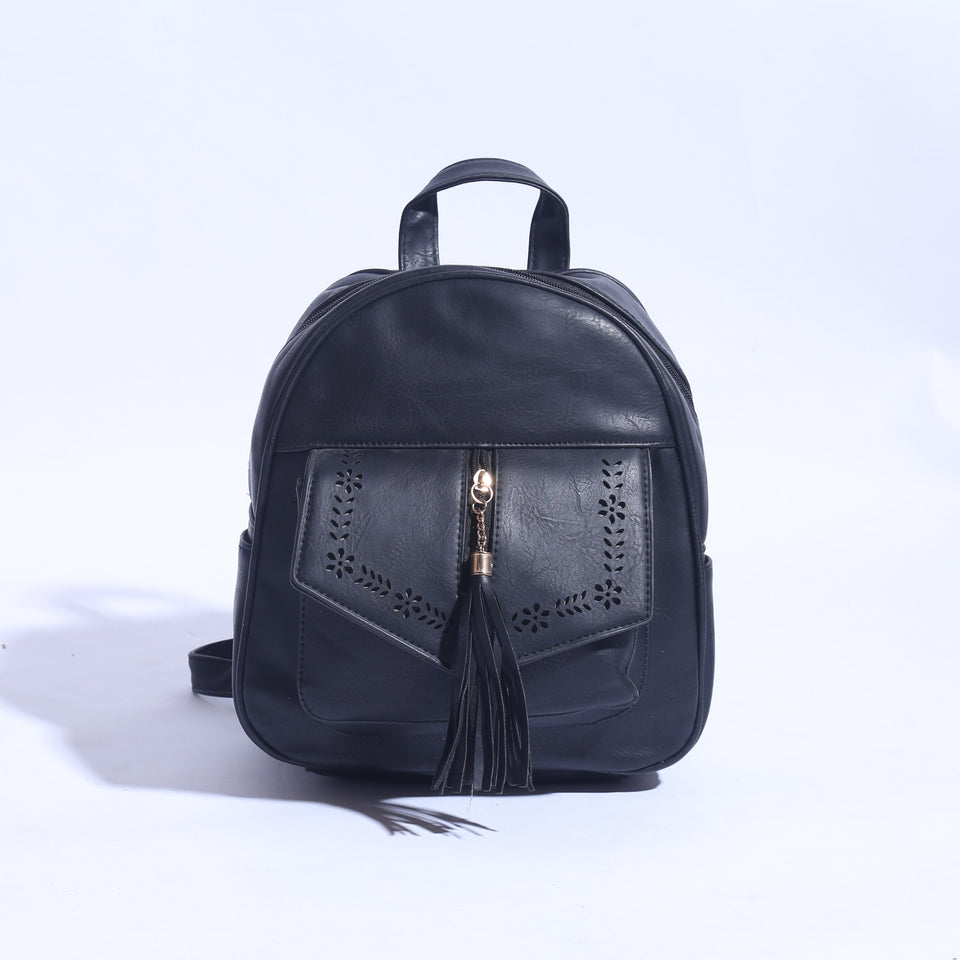Pure Leather Back Pack Black (BP -  033 ) - The Women Wears