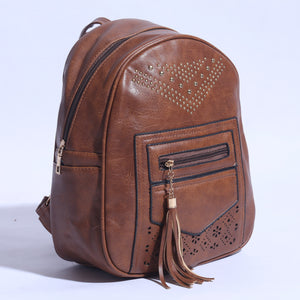 Pure Leather Back Pack Brown ( BP - 035 ) - The Women Wears