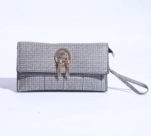 Printed Slim Clutch With Gold Logo (C-042) - The Women Wears