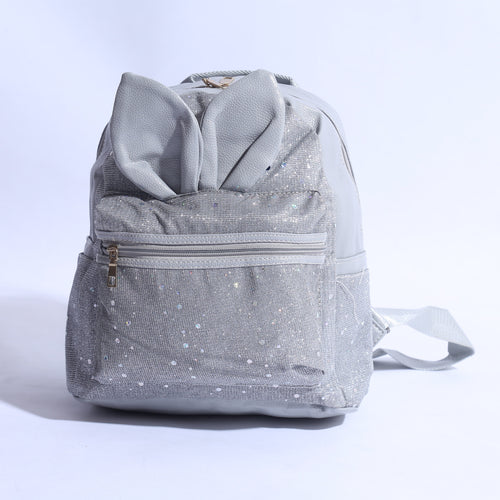 Mini Back Pack With Rabbit Ears SHINY SILVER ( BP - 017 ) - The Women Wears
