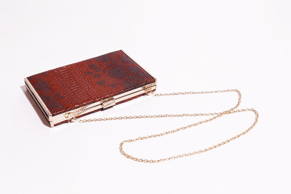Hardcase Clutch bag With Metal Clasp & Beautiful Texture - 165 ( C - 063) - The Women Wears