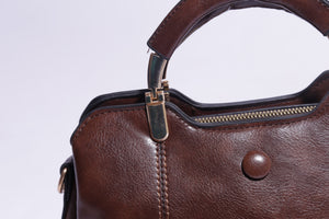 Solid Brown Faux Leather Handbag For Women - 155 ( B - 056 ) - The Women Wears