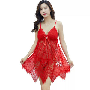 Lace Nightwear V Neck With G-String Panty (592) - The Women Wears