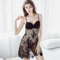 Black Lace See Through Bridal Nighty With G String For Women