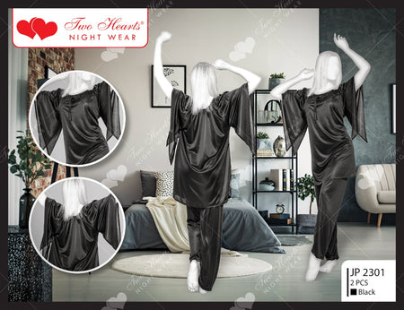 2 Piece Silk Ladies Bedgown With Bell Sleeves - Black (1160)