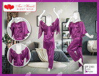 2 Piece Silk Ladies Bedgown With Bell Sleeves - Purple (1159)