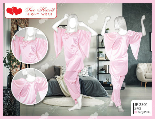 2 Piece Silk Ladies Bedgown With Bell Sleeves - Pink (1158)