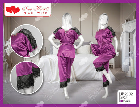 Autumn Two Piece Sexy Silk Pajamas Set With Black Patches - Purple (1152)