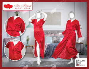 2 Piece Long Sexy Nighty With Gown - Maroon (1182)