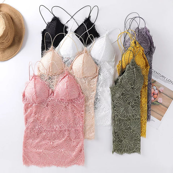 Padded Floral Lace Camisole Bralette (K-174)
