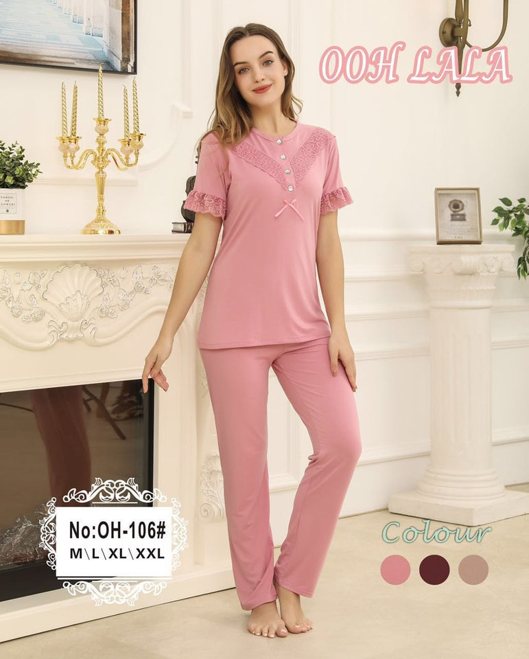 Half Sleeves Front Lace Pajama Set - (106)