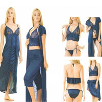 6 Piece Silk Sleepwear Spaghetti Strap Nightwear - Blue(779) (4) - The Women Wears