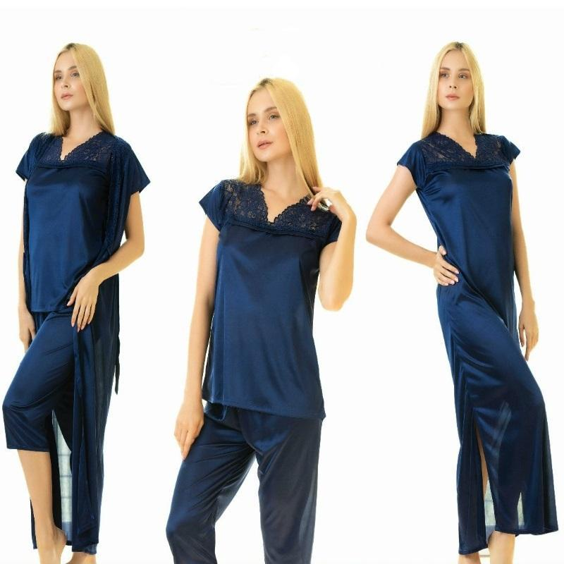 4 Piece Stylish Lace Blue Nightdress (782) - The Women Wears