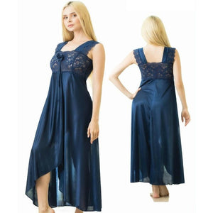 Stylish Long Lace Decorated Nightdress (528) - The Women Wears