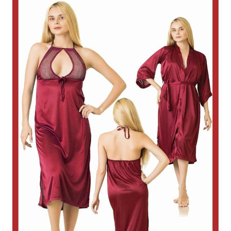 2 Piece Stylish Long Lace Decorated Maroon Nightdress (784) - The Women Wears