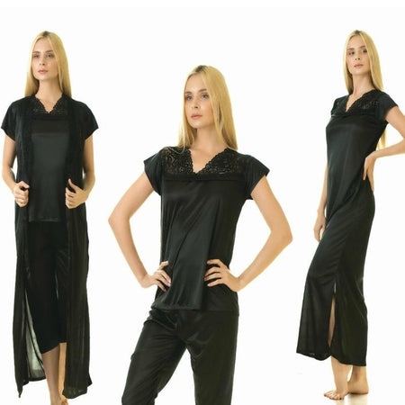 4 Piece Stylish Lace Black Nightdress (783) - The Women Wears