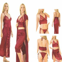6 Piece Silk Sleepwear Spaghetti Strap Nightwear - Maroon (779) (3) - The Women Wears