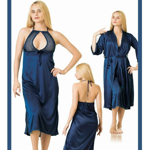 2 Piece Stylish Long Lace Decorated Blue Nightdress (785) - The Women Wears