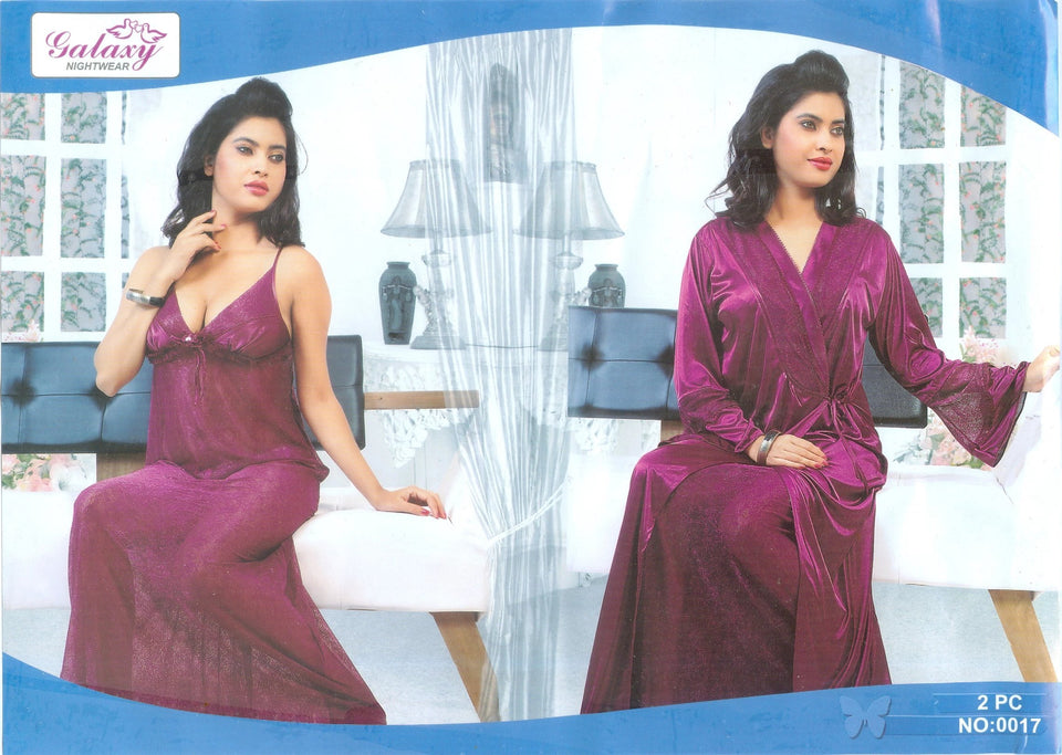 2 Piece Embroidered Night Gown in 5 Colors ( N-056 ) - The Women Wears