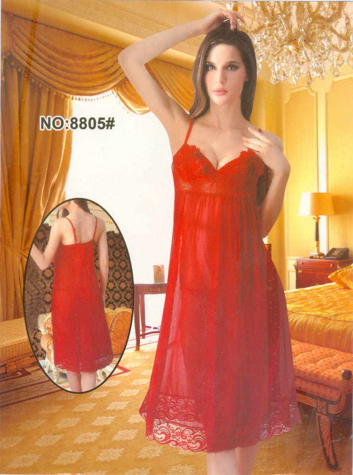See Through Embroidered Lace Red Nighty ( N-051 ) - The Women Wears
