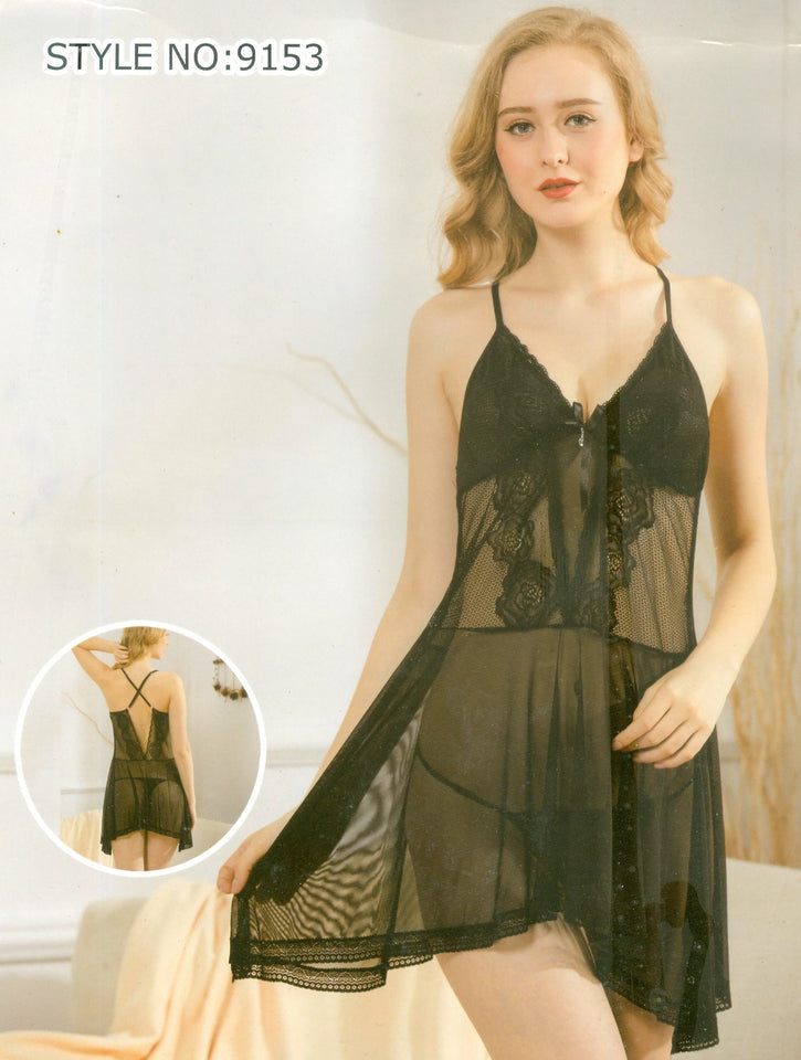 See Through Embroidered Lace Black Nighty ( N-050 ) - The Women Wears