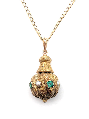 Victorian Emerald Pearl Pendent 18k