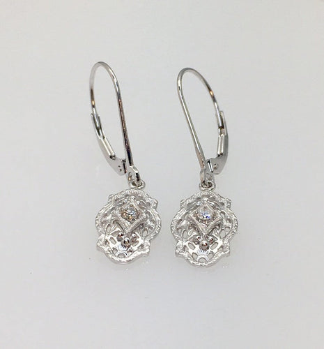 Earrings Diamond Antique Vintage 14k White Gold Dangle