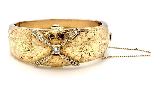 14k Vintage Diamond Bangle Watch