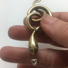 Load image into Gallery viewer, 18k Large Victorian Diamond Snake Pendent