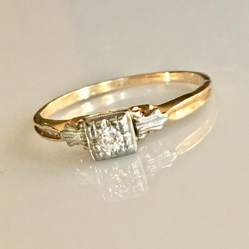 Diamond Engagement  Ring 14k Two-Tone Antique
