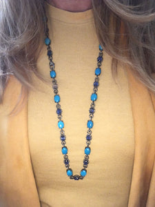 Diamond, Turquoise and Iolite Necklace