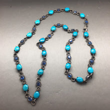 Load image into Gallery viewer, Diamond, Turquoise and Iolite Necklace