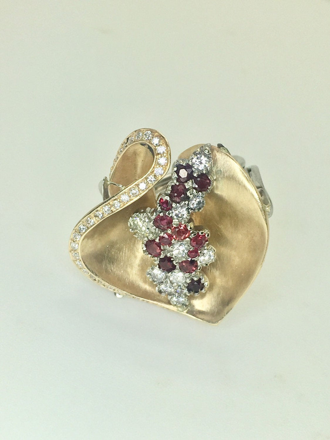 New Ruby and Diamond 14k Flower Ring Custom Made