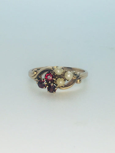 Victorian 14k Garnet and Pearl Ring