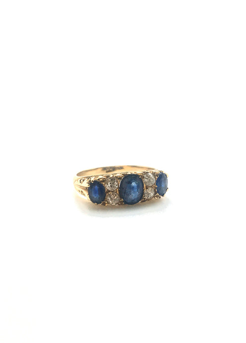 Antique Sapphire Diamond VIctorian RIng