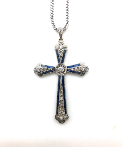 Antique Art Deco Diamond Sapphire Cross