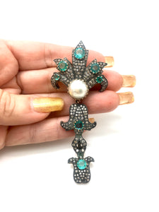 Vintage, Emerald, Diamond And Pearl Pendent/Brooch
