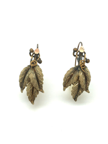 Antique Victorian 10k Leaf Earrings