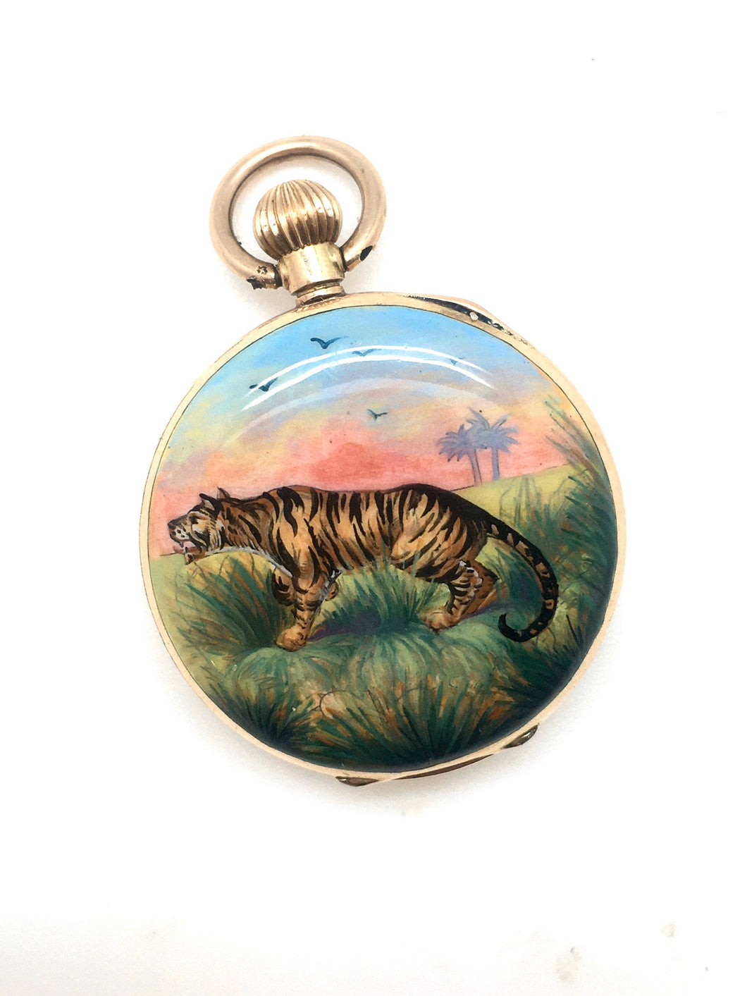 Antique 14k Enameled Tiger Pocket Watch