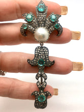 Load image into Gallery viewer, Vintage, Emerald, Diamond And Pearl Pendent/Brooch