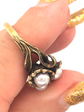 Load image into Gallery viewer, Art Nouveau Antique Pearl Ring 10k