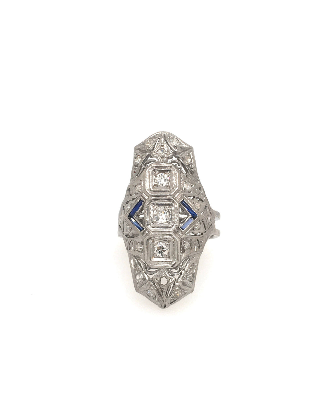 18K Art Deco DIamond Shield Ring