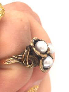 Art Nouveau Antique Pearl Ring 10k