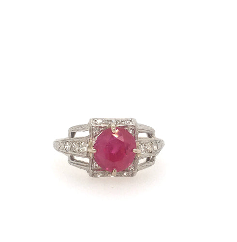 Ruby, Unheated Burmese, 1920'S, Art Deco, Platinum Ring, GIA