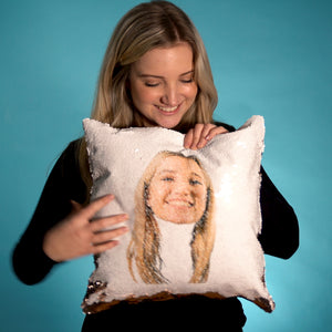 Personalized  Face Sequin Cushion Cover