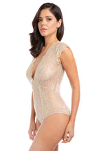 Load image into Gallery viewer, Gold Rush Metallic Lace Bodysuit